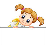School girl cartoon holding blank sign. Illustration of School girl cartoon holding blank sign Royalty Free Stock Image