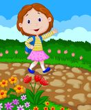 School girl cartoon waving Royalty Free Stock Photography