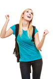 School girl celebrating success Royalty Free Stock Image