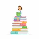 School Girl - character of happy kid sitting on books Royalty Free Stock Photography