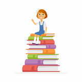 School Girl - characters of happy child sitting on books Stock Image