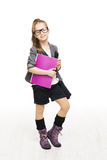 School Girl Child in Glasses Holding Book. Student Schoolgirl Stock Images