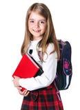 School girl child isolated on white. Stock Photo