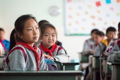 School girl in a chinese classroom Stock Photography
