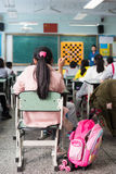 School girl in a chinese classroom Royalty Free Stock Photography