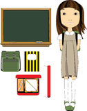 School Girl And Classroom Essentials. Back to school illustration pack including: chalkboard, notebook, school bag, lunch box and a roll of paper to cover books Royalty Free Stock Photos