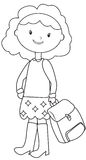 School girl coloring page Stock Photos