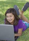 School Girl on Computer Stock Photo