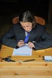 School girl concentrating. Interior portrait of school girl Stock Photos