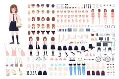 School girl constructor or DIY kit. Set of young female character body parts, facial expressions, uniform isolated on. White background. Front, side and back stock illustration