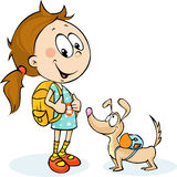 School girl and dog with schoolbag - vector Royalty Free Stock Photo