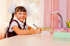 School girl doing homework Royalty Free Stock Photo