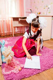 School girl doing homework Royalty Free Stock Images