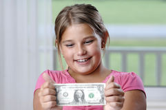 School girl and dollar bills Stock Image