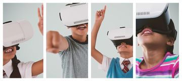 School girl gesturing while wearing VR headset. Close-up of school girl gesturing while wearing VR headset against white background Stock Photos