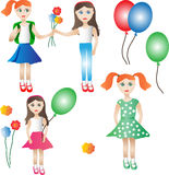 School girl. Girls go to school with balloons and flowers Royalty Free Stock Photo