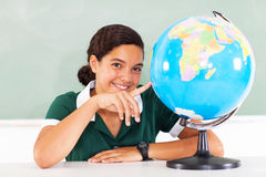 School girl globe Royalty Free Stock Image