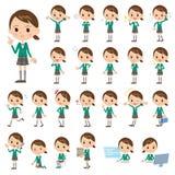 School girl Green Blazer. Set of various poses of school girl Green Blazer Royalty Free Stock Photography