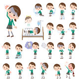 School girl Green Blazer About the sickness Royalty Free Stock Photography