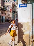 School girl in Havana 2 royalty free stock images
