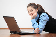 School girl with her laptop Stock Photo