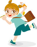 School girl holding breakfast. Abstract illustration of Girl holding a breakfast run to school Stock Images