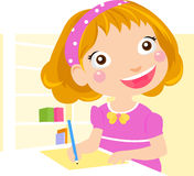 School Girl homework Royalty Free Stock Photography
