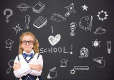 School girl and I love school Education drawing on blackboard royalty free stock image