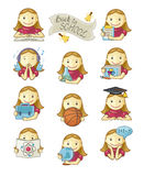 School Girl Icons. Cute school girl icons vector set on white background. Handwritten vectored text Stock Photography