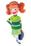 School Girl Illustration. Acrylic paint illustration of a red headed school girl Stock Photo