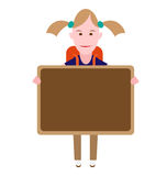 School girl. Illustration of school girl with blackboard on white background Stock Photography