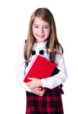 School girl isolated on white. Pupil with books. royalty free stock photo