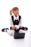 School Girl with laptop Stock Photo