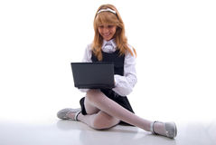 School Girl with laptop Royalty Free Stock Photo