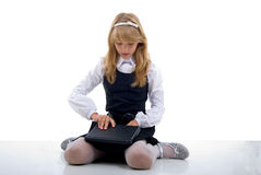 School Girl With Laptop. Stock Photos