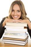 School girl lean on books smile royalty free stock photo