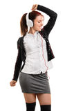 School girl listening music Royalty Free Stock Image