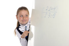 School girl looking to board Stock Image