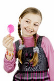 School girl looks in the mirror Royalty Free Stock Photography