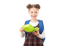 School girl with lunchbox Royalty Free Stock Photo
