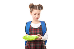 School girl with lunchbox Royalty Free Stock Image
