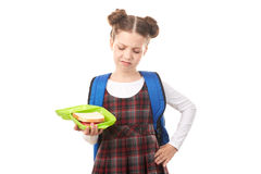 School girl with lunchbox Royalty Free Stock Photography