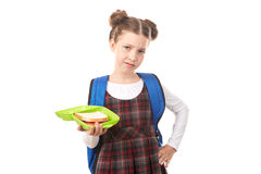 School girl with lunchbox Royalty Free Stock Photos
