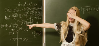 School girl on math classes Royalty Free Stock Photos