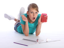 School girl math homework education surprise Royalty Free Stock Image