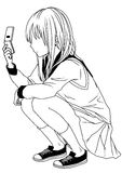 School girl with a mobile phone. Illustration,ink,black and white,logo,outline,isolated on a white Stock Image