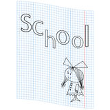 School girl picture. Schoolgirl and the word school on a notebook sheet, vector illustration hand drawing Stock Images