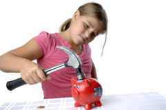 School girl and piggy bank Stock Photo