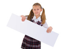School Girl With Presentation Board Banner. Royalty Free Stock Photos