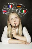 School Girl Pupil Learning English, German, French or Italian Royalty Free Stock Photos